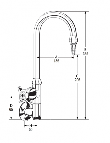 LB16 Line Drawing - Celestial Handle Pictured