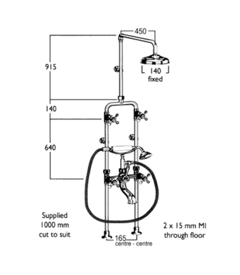 CB | Roulette Combination Diverter & Exposed Shower with Fixed Arm ...