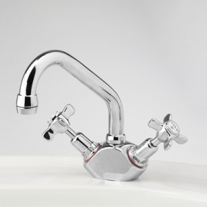 Heritage Basin Duo Mixer with Swivel Upswept Outlet