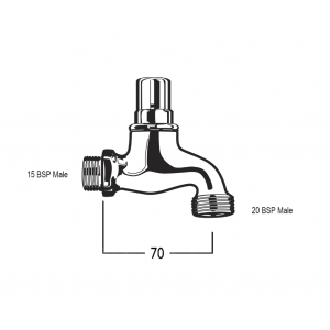 Bibcock with 15 BSP Male Inlet and 20 BSP Male Screw Nose - Vandalproof without Key