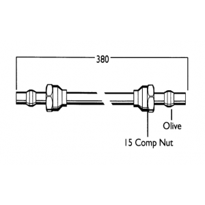 Cistern Connector Tube & Nuts - 380mm Long