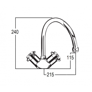 Torrens Capstan Sink Duo Mixer with Swivel Gooseneck Outlet