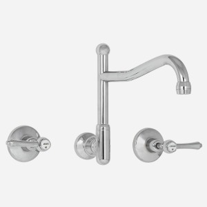 Olde Adelaide Wall Sink Set with Swivel Outlet & Roulette Lever Handles