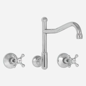 Olde Adelaide Wall Sink Set with Swivel Outlet & Roulette Handles