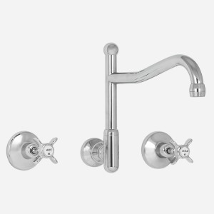 Olde Adelaide Wall Sink Set with Swivel Outlet & Heritage Handles
