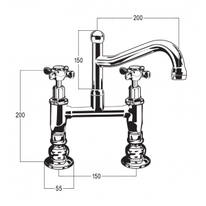 Olde Adelaide Exposed Hob Sink Set with Swivel Outlet & Heritage Handles