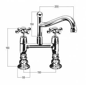 Olde Adelaide Exposed Hob Sink Set with Swivel Outlet & Roulette Handles