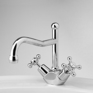 Olde Adelaide Sink Duo Mixer with Swivel Spout and Roulette Handles
