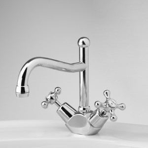 Olde Adelaide Basin Duo Mixer with Swivel Spout and Roulette Handles