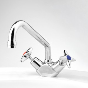Bellevue Sink Duo Mixer with Swivel Upswept Outlet