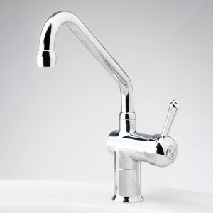 Roulette Lever Flick Mixer with Sink Upswept Outlet