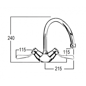Celestial Lever Sink Duo Mixer with Swivel Gooseneck Outlet