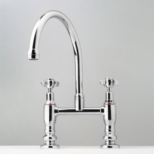 Heritage Exposed Hob Sink Set with Top Taps & Swivel Gooseneck Outlet