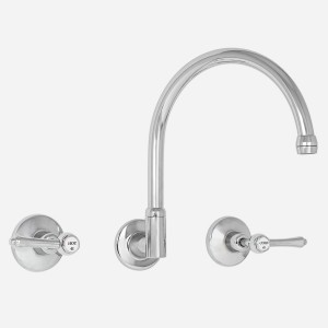 Roulette Lever Wall Sink Set with Gooseneck Outlet