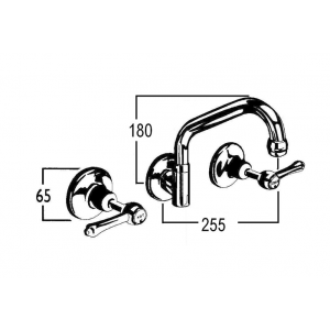 Roulette Lever Wall Sink Set with Upswept Outlet