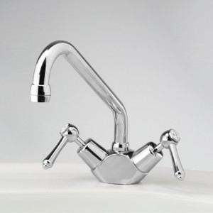 Roulette Lever Sink Duo Mixer with Swivel Upswept Outlet