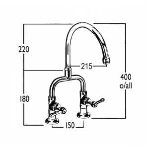 Roulette Lever Exposed Hob Sink Set with Front Taps & Swivel Gooseneck Outlet