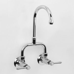 Roulette Lever Exposed Wall Sink Set with LB10 Gooseneck Outlet