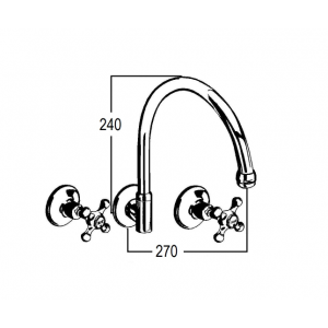 Roulette Wall Sink Set with Gooseneck Outlet