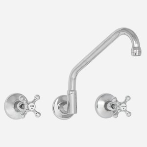 Roulette Wall Sink Set with Upswept Outlet
