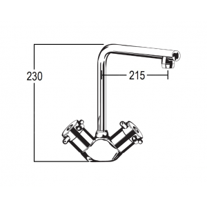 Torrens Capstan Sink Duo Mixer with Swivel T Outlet