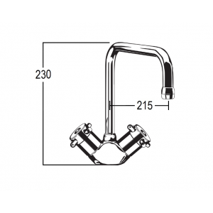 Torrens Capstan Sink Duo Mixer with Swivel Square Outlet