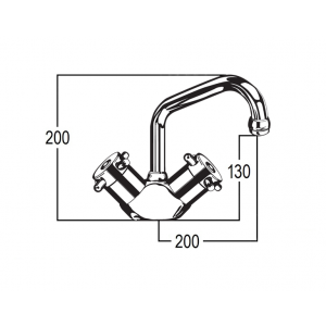 Torrens Capstan Sink Duo Mixer with Swivel Upswept Outlet