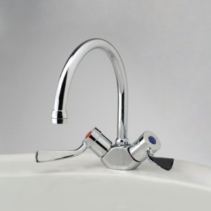 Torrens Flared Lever Sink Duo Mixer with Swivel Gooseneck Outlet