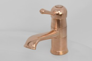 Photo: EY5202 in Dull Copper (DC) finish with Engraved Button Upgrade (EBU), shown immediately after manufacture