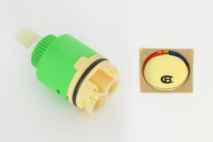 Photo: PA8320 - Replacement Ceramic Cartridge & Button Kit for CB Flick Mixers & DB Series Mixers - Gold Colour Button