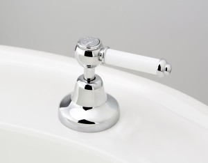 SKU: RL2533CP-LCNS-EBU - Chrome Plate finish with White Lever Insert Upgrade & Engraved Button - Cold Indicator