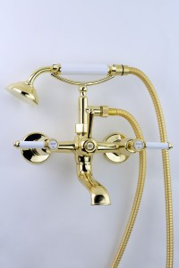 Photo: RL9481 in Polished Brass (PB) finish with White Coloured Lever Insert Upgrade (LCNS)
