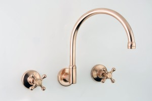 Photo: RU3114 in Dull Copper (DC) finish with Engraved Button Upgrade (EBU), shown immediately after manufacture