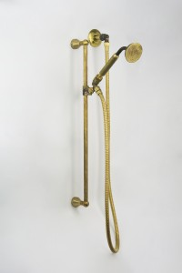 Photo: SA7688 in Raw Brass (RB) finish & Raw Brass Handle for Handshower with Seaview Accessory Bases (SV)