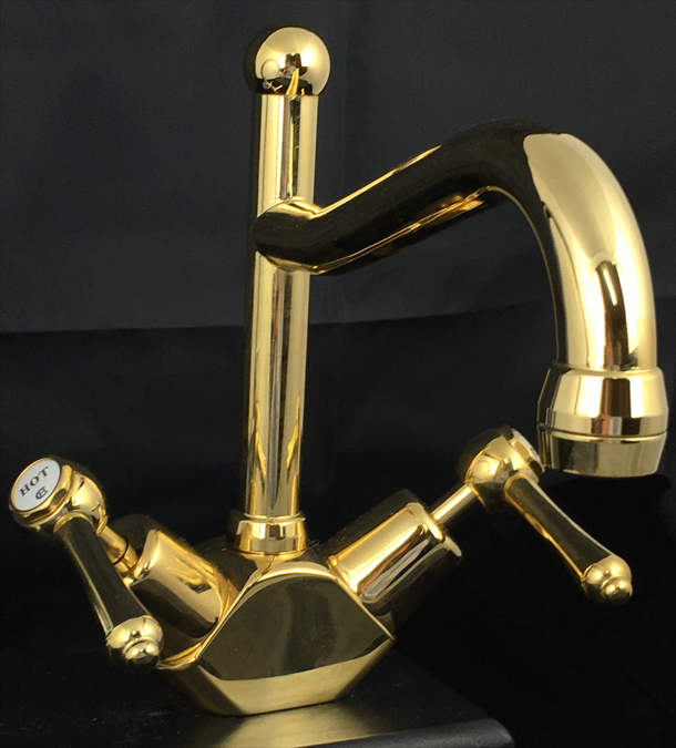 BA1518AB Roulette Lever Sink Duo Mixer with Olde Adelaide Spout in Antique Brass Finish
