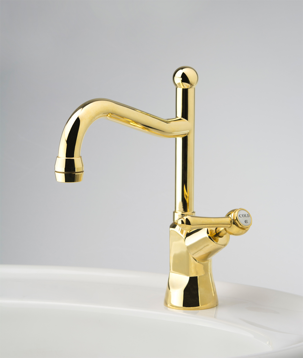 Olde Adelaide Drinking Water Pillar Tap with Swivel Outlet & Roulette Lever Handle in Antique Brass