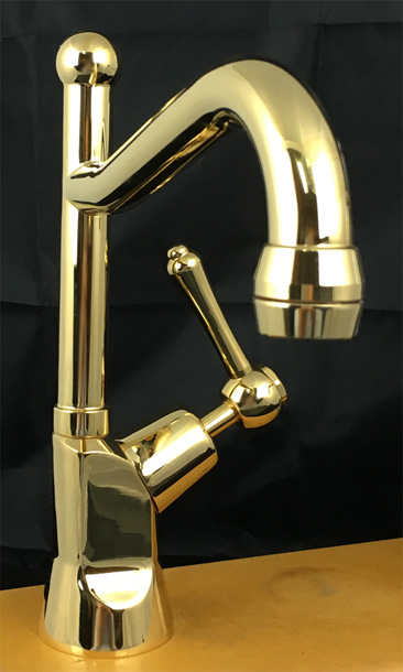 BA1530AB Roulette Lever Pillar Drinking Water Tap with Olde Adelaide Outlet in Antique Brass