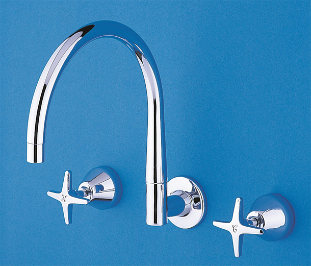 BA3314CP CB Ideal Series - Wall Sink Set with Swivel Floline Outlet in Chrome Plate Finish