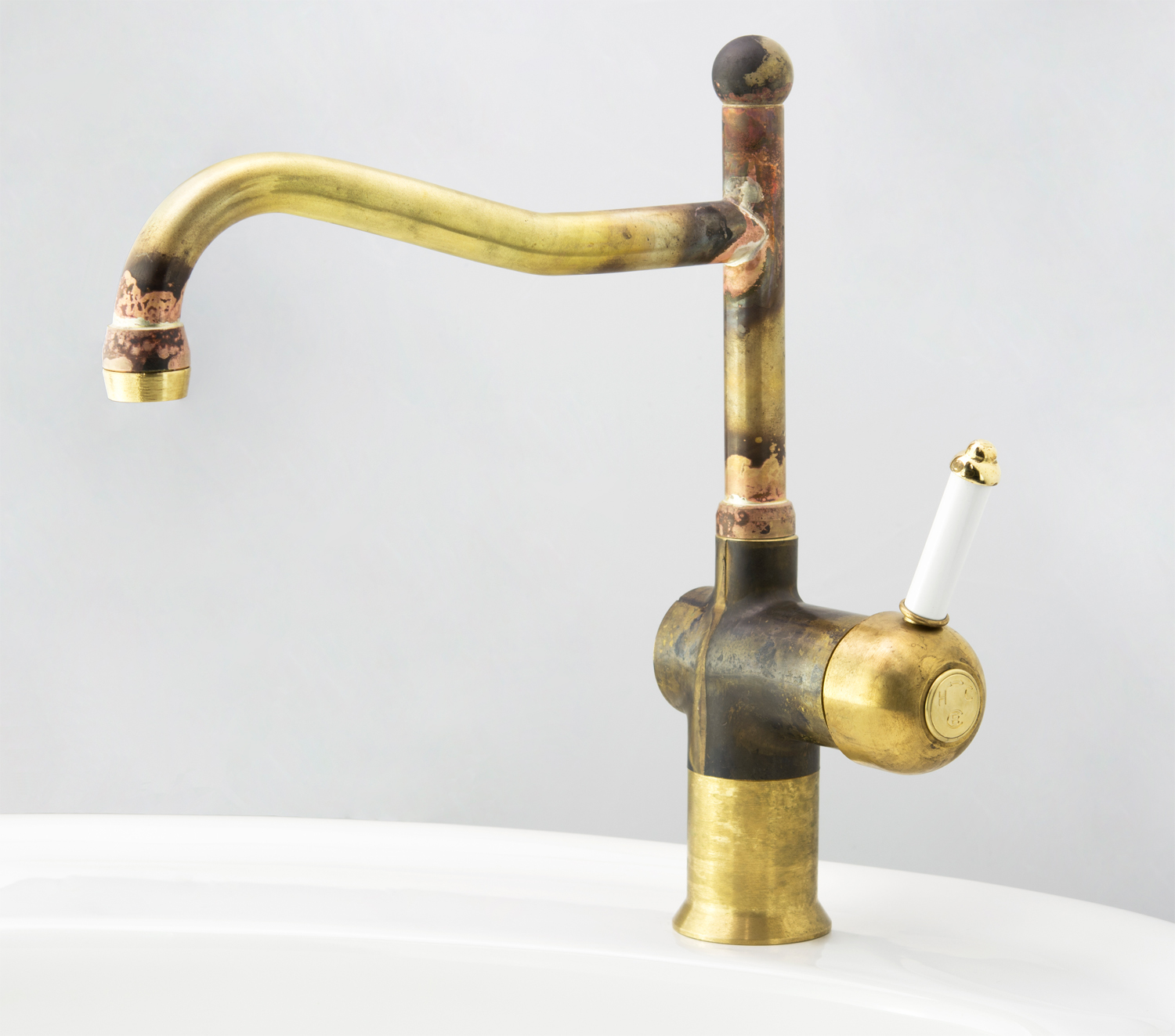 Roulette Lever Flick Mixer with Sink Olde Adelaide Outlet in Raw Brass with White Lever Insert and Engraved Button Upgrade