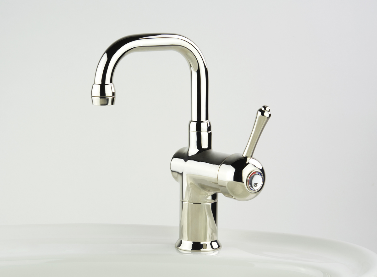 Roulette Lever Flick Mixer with Basin Square Outlet in Nickel Plate finish