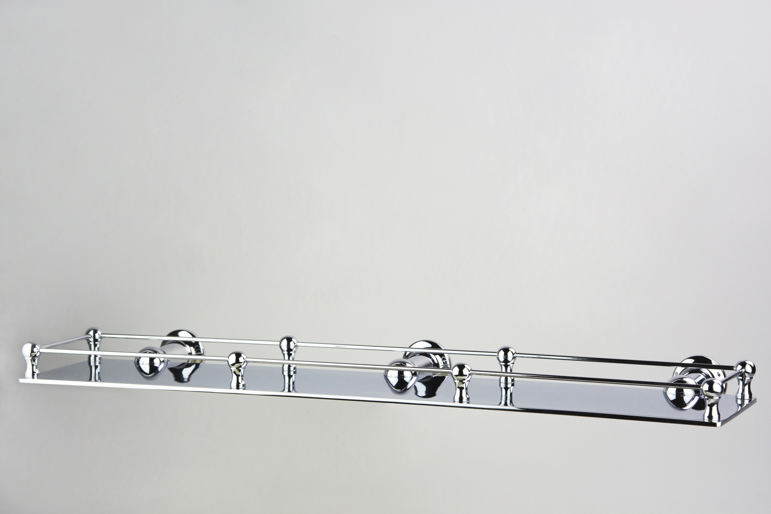 Roulette Custom 500mm Long Shower Shelf with Deco Rail in Chrome Plate finish