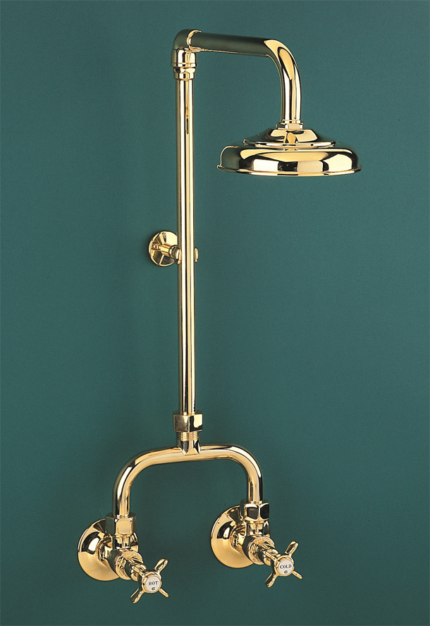 HE9599 Heritage Alcove Shower Set - Standard Sizing in Antique Brass Finish
