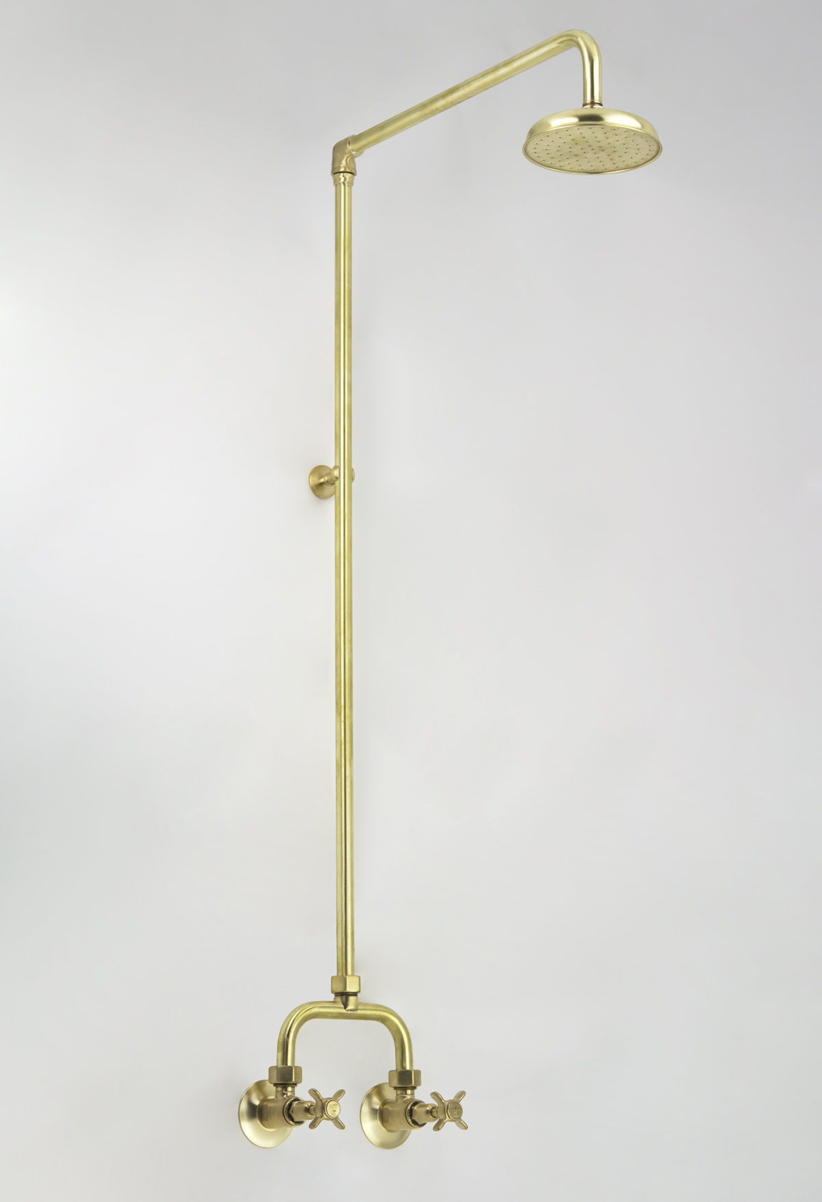 Heritage Alcove Shower Set in Lea Wheeled Brass with Engraved Button Upgrade immediately after manufacture