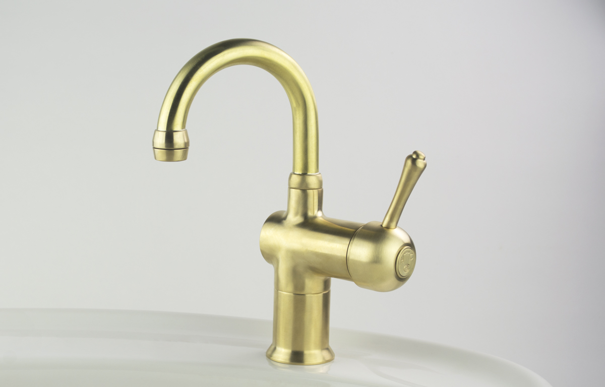 Roulette Lever Flick Mixer with Basin Gooseneck Outlet in Lea Wheeled Brass finish with Engraved Button Upgrade