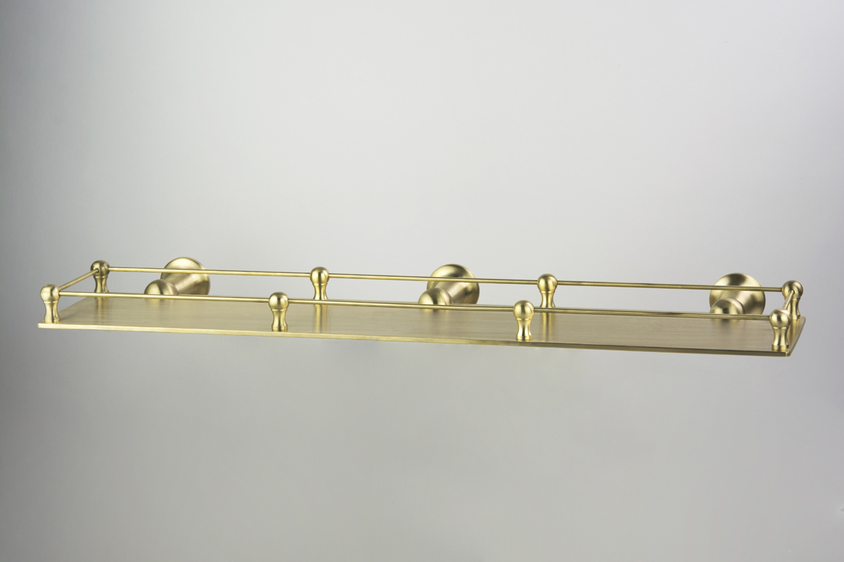 Roulette Custom 500mm Long Shower Shelf with Deco Rail in Lea Wheeled Brass finish