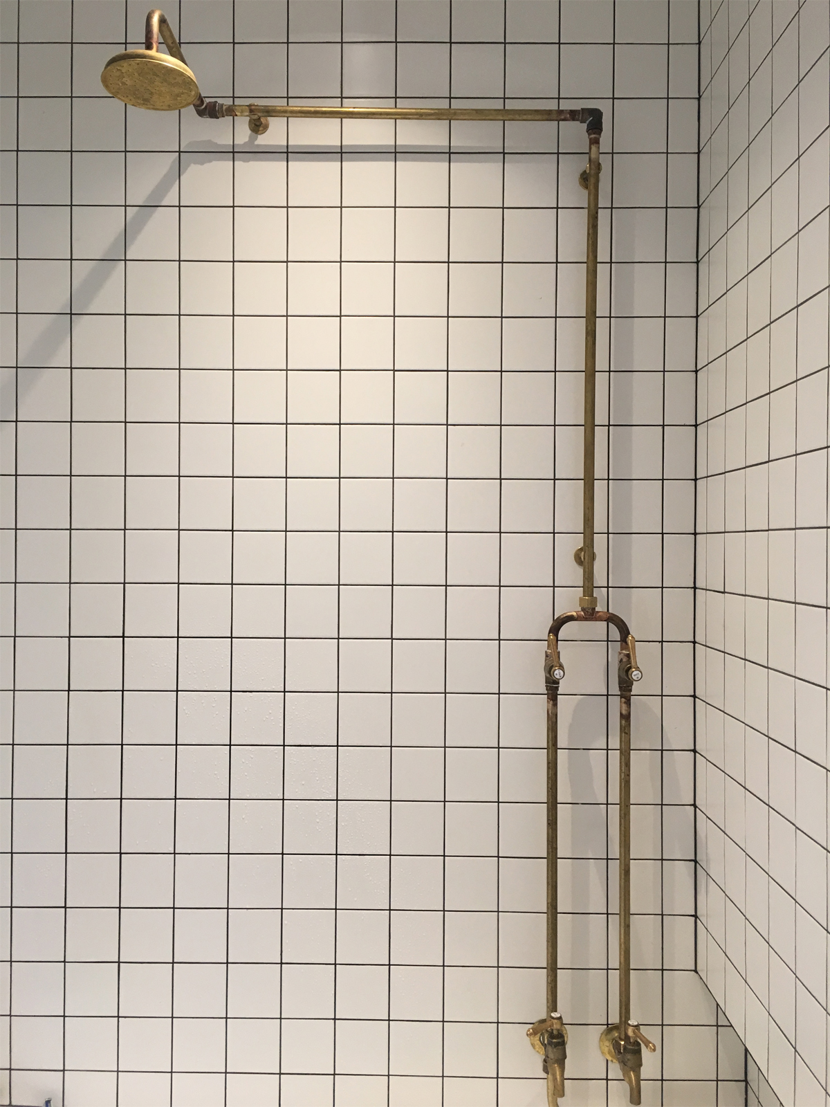 Customised Roulette Lever Tubular Shower / Bath Set with Offset Shower Head in Raw Brass Finish