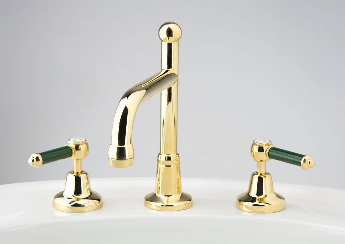 Roulette Lever Basin Set with Swivel Victor Outlet in Antique Brass with Heritage Green Coloured Insert Upgrade