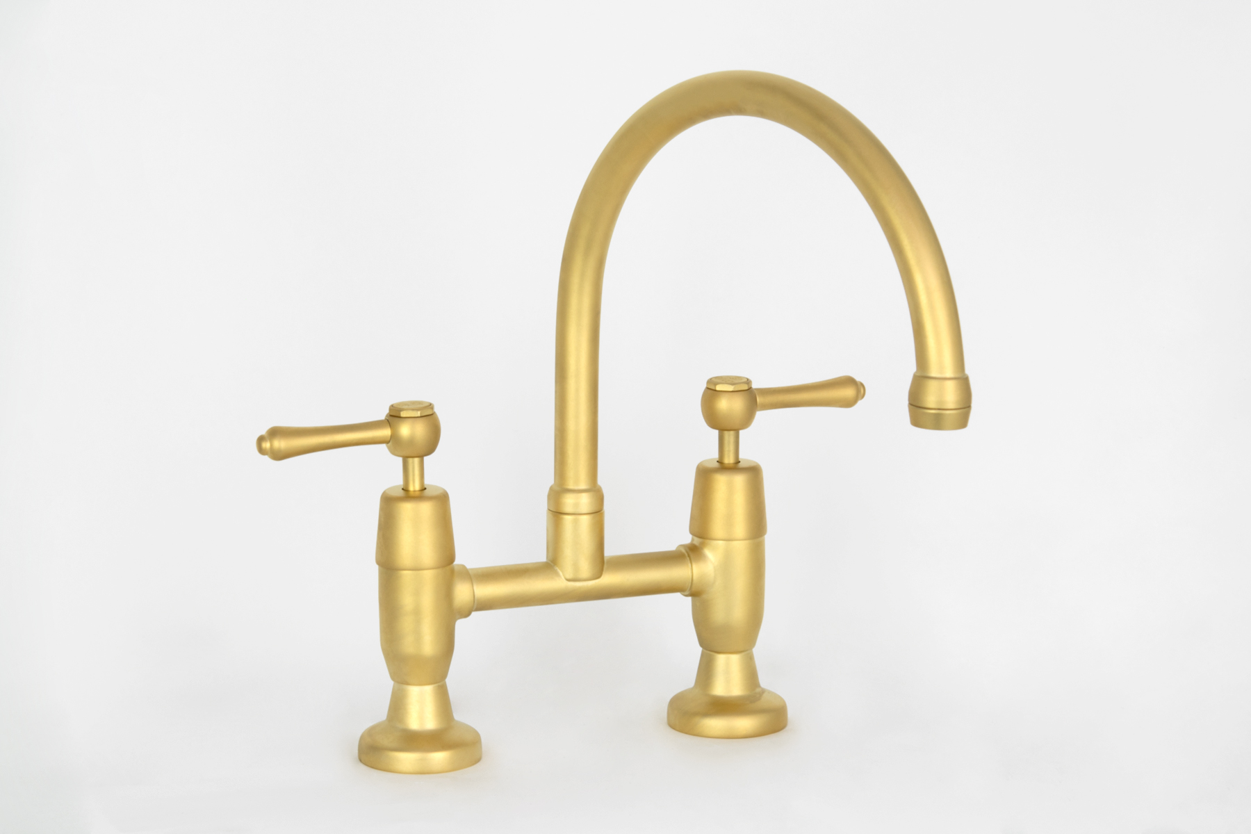 Roulette Lever Exposed Hob Sink Set with Top Taps & Swivel Gooseneck Outlet in Satin Antique Brass with Engraved Buttons