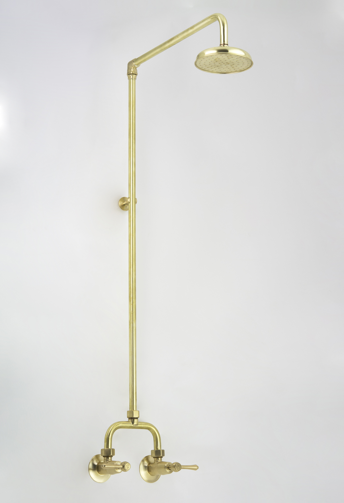 Roulette Lever Alcove Shower Set in Lea Wheeled Brass with Engraved Button Upgrade immediately after manufacture
