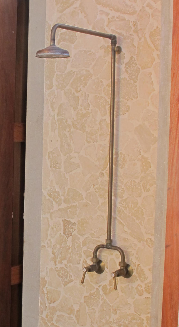 RL9599RB Roulette Lever Alcove Shower Set in Raw Brass Finish